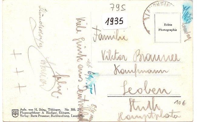 Laupheim v. Flugzeug  aus (Rückseite der Ansichtskarte)