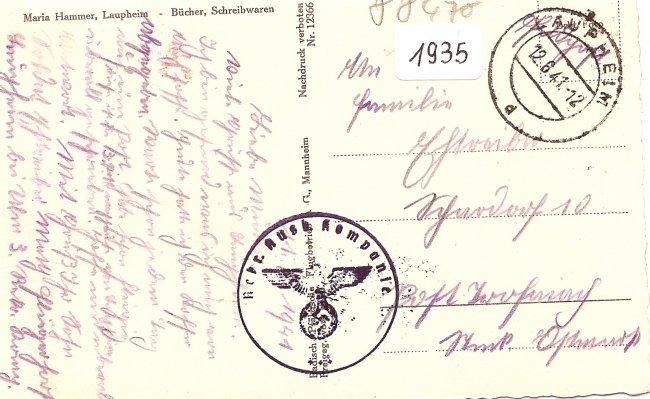 Flugzeugaufnahme von Laupheim / Wttbg. (Rückseite der Ansichtskarte)