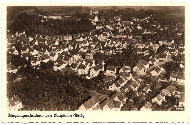 Flugzeugaufnahme von Laupheim / Wttbg. (Vorderseite der Ansichtskarte)