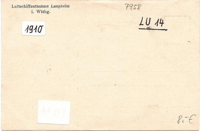 Laupheim, Gesamtansicht (Rückseite der Ansichtskarte)