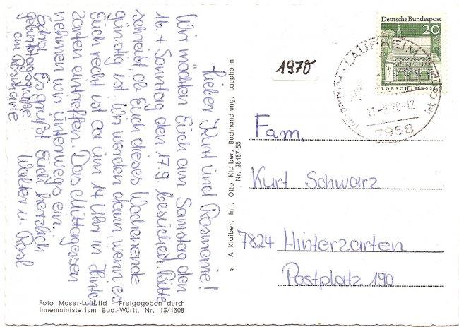Laupheim/Württ., vom Flugzeug aus (Rückseite der Ansichtskarte)
