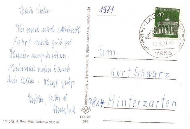 Laupheim (Württ.), Teilansicht (Rückseite der Ansichtskarte)
