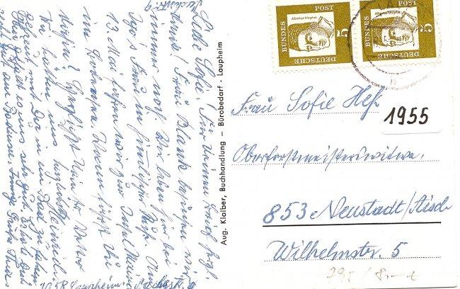 Laupheim/Württ. (Rückseite der Ansichtskarte)