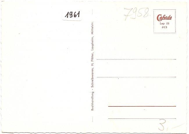 Grüsse aus Laupheim (Württ.) (Rückseite der Ansichtskarte)