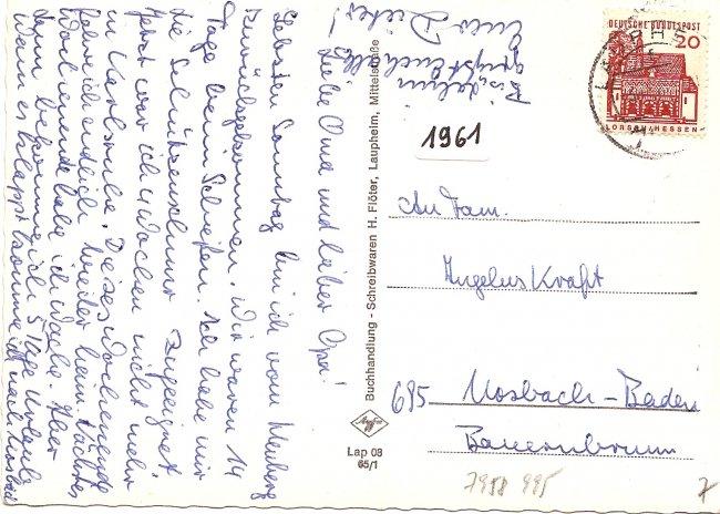 Grüsse aus Laupheim / Württ. (Rückseite der Ansichtskarte)