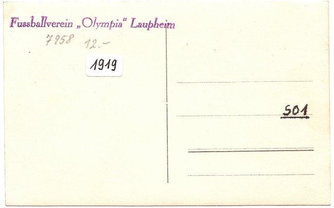 Olympia Laupheim, Gedenkstein (Rückseite der Ansichtskarte)