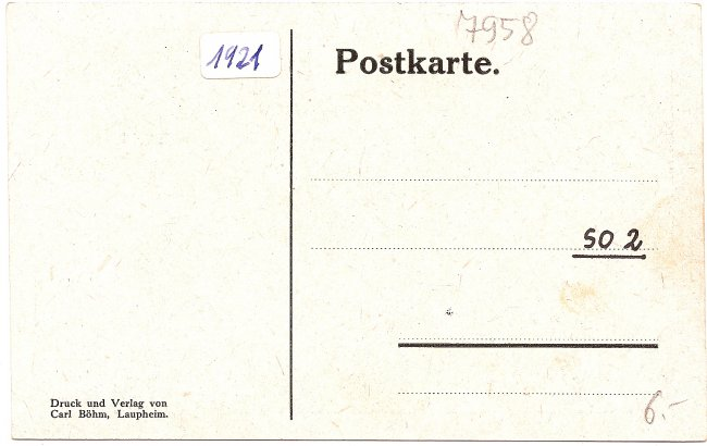 Albert Magg- Gedenkstein (Rückseite der Ansichtskarte)