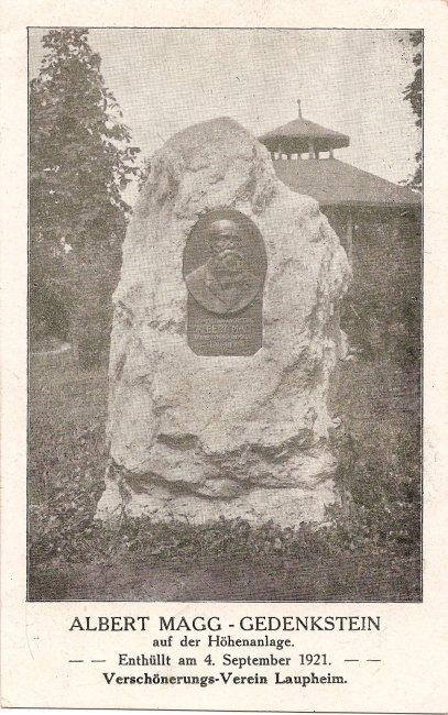Albert Magg- Gedenkstein (Vorderseite der Ansichtskarte)