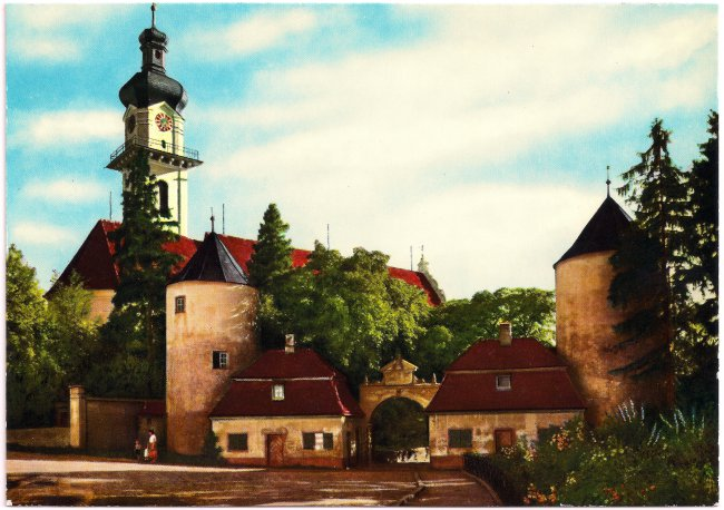 Laupheim Schlosskirche (Vorderseite der Ansichtskarte)