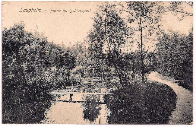 Laupheim - Partie im Schlosspark (Vorderseite der Ansichtskarte)