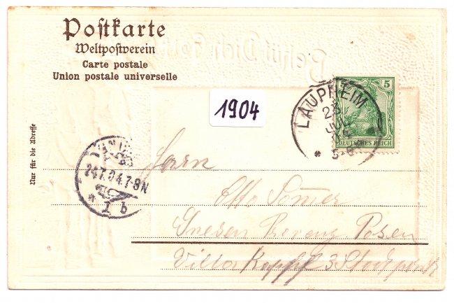Laupheim Schloss (Rückseite der Ansichtskarte)