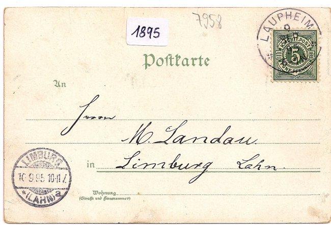 Gruss aus Laupheim (Rückseite der Ansichtskarte)