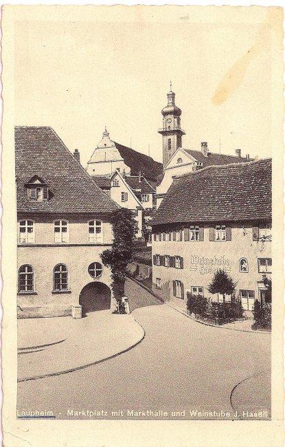 Laupheim - Marktplatz mit Markthalle und Weinstube J. Hasen (Vorderseite der Ansichtskarte)
