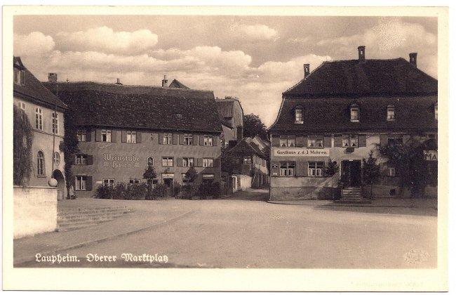 Laupheim, Oberer Marktplatz (Vorderseite der Ansichtskarte)
