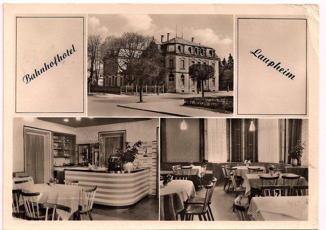 Bahnhofhotel Laupheim (Vorderseite der Ansichtskarte)