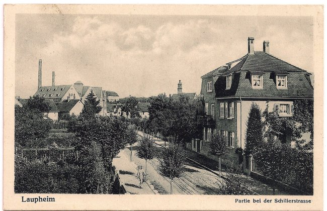 Laupheim Partie bei der Schillerstrasse (Vorderseite der Ansichtskarte)