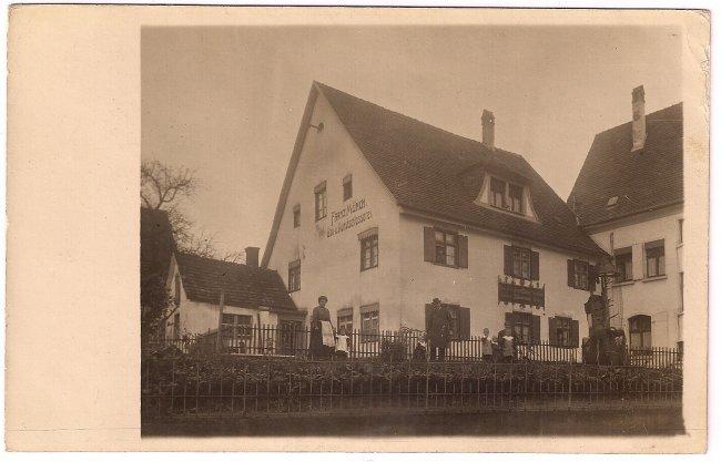 Schlosserei F. Münch (Vorderseite der Ansichtskarte)