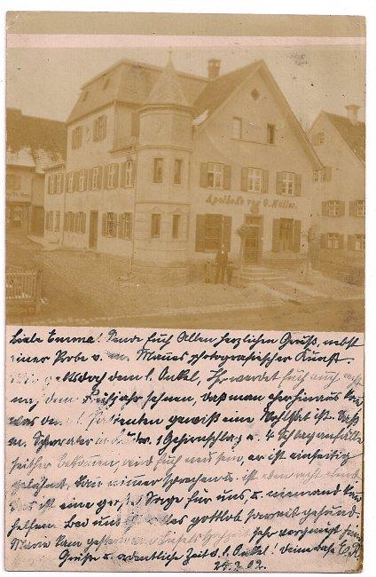 Apotheke von G. Müller (Vorderseite der Ansichtskarte)