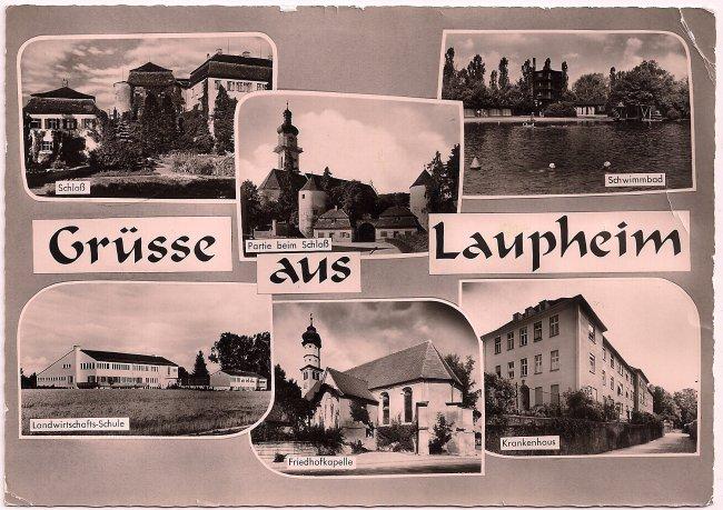 Grüsse aus Laupheim (Vorderseite der Ansichtskarte)