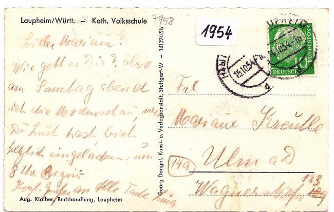 Anna-von-Freyberg-Schule (Rückseite der Ansichtskarte)
