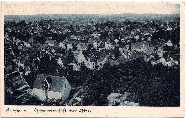 Laupheim - Gesamtansicht von Osten (Vorderseite der Ansichtskarte)