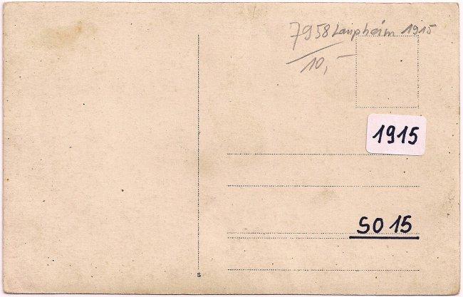 Zur Erinnerung an das Kriegerheim Laupheim 1915 (Rückseite der Ansichtskarte)