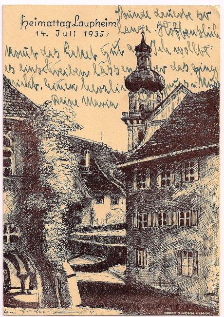 Heimattag Laupheim, 14. Juli 1935 (Vorderseite der Ansichtskarte)
