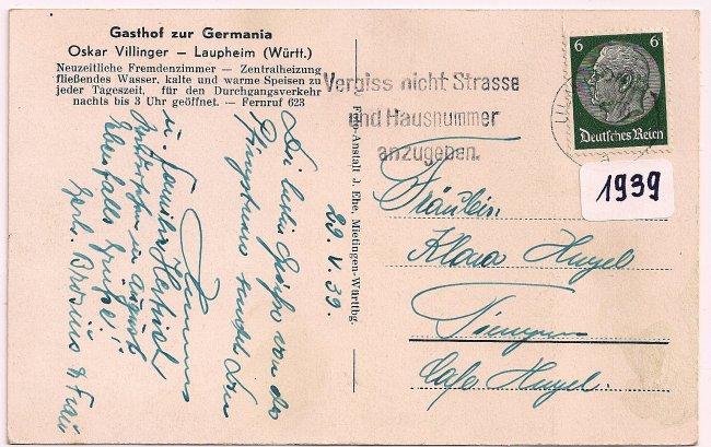 Gasthof zur Germania (Rückseite der Ansichtskarte)
