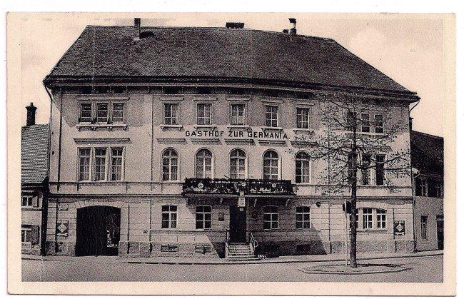 Gasthof zur Germania (Vorderseite der Ansichtskarte)
