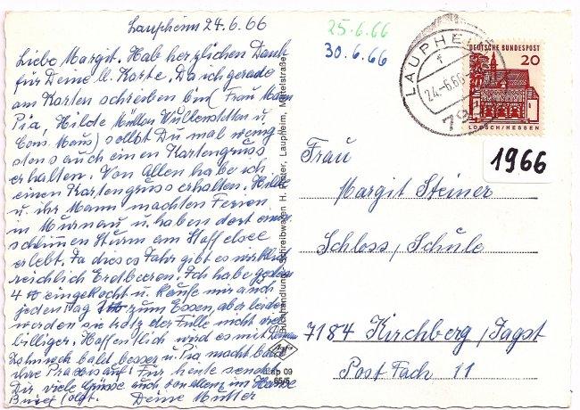 Laupheim, Peter und Paul Kirche (Rückseite der Ansichtskarte)