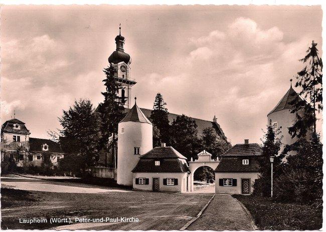 Laupheim, Peter und Paul Kirche (Vorderseite der Ansichtskarte)