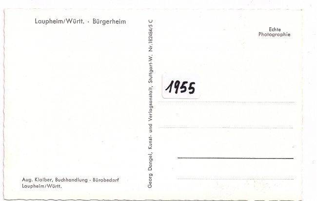 Bürgerheim (Rückseite der Ansichtskarte)
