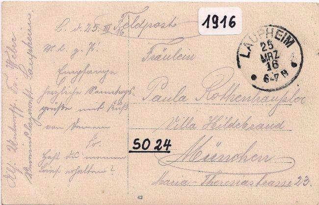 Kriegerheim Laupheim (Rückseite der Ansichtskarte)