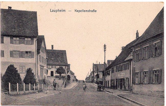 Laupheim – Kapellenstraße (Vorderseite der Ansichtskarte)