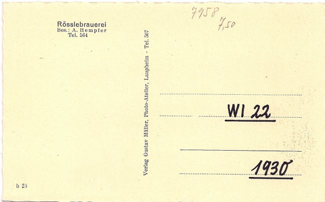 Brauerei zum Rössle (Rückseite der Ansichtskarte)