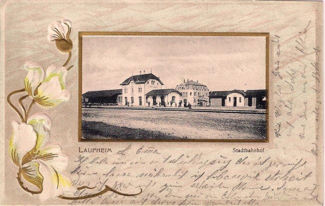 Stadtbahnhof Laupheim (Vorderseite der Ansichtskarte)