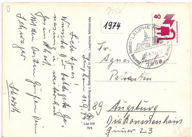 Lourdesgrotte (Rückseite der Ansichtskarte)