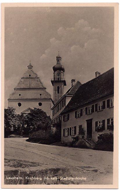 Kirchberg mit kath. Stadtpfarrkirche (Vorderseite der Ansichtskarte)