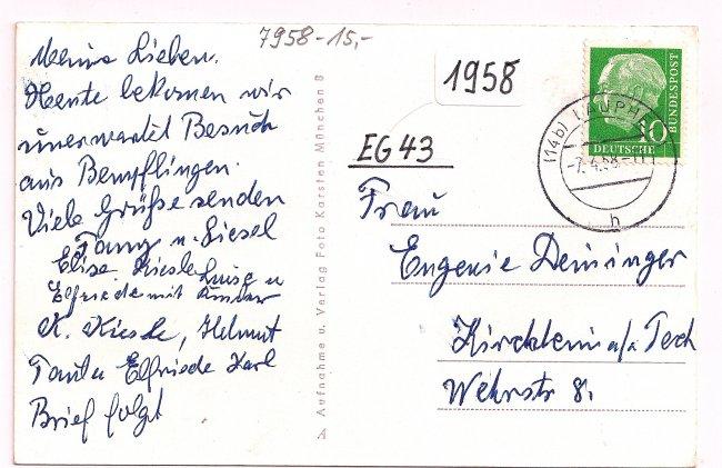 Laupheim – Haus Kiesle (Rückseite der Ansichtskarte)
