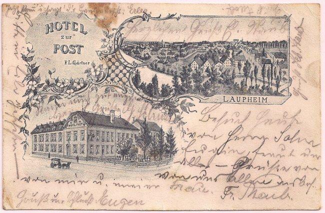 Hotel zur Post (Vorderseite der Ansichtskarte)