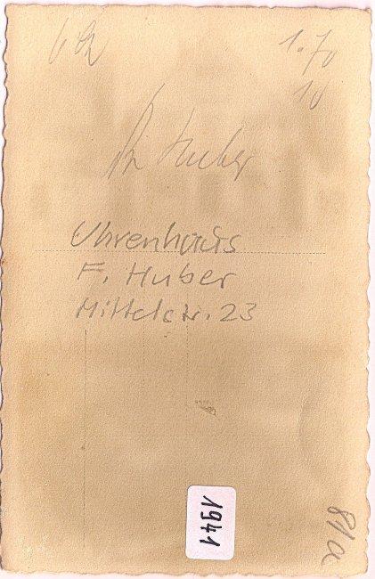 Uhrenhaus F. Huber (Rückseite der Ansichtskarte)