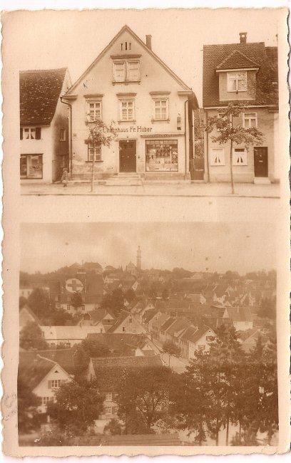 Uhrenhaus F. Huber (Vorderseite der Ansichtskarte)