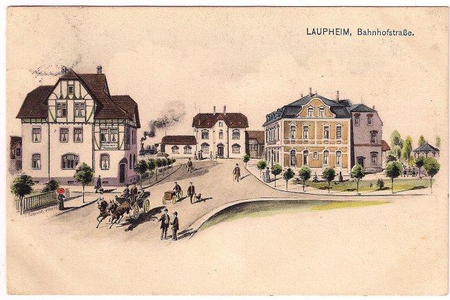Laupheim, Bahnhofstraße (Vorderseite der Ansichtskarte)