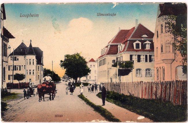 Laupheim Ulmerstraße (Vorderseite der Ansichtskarte)