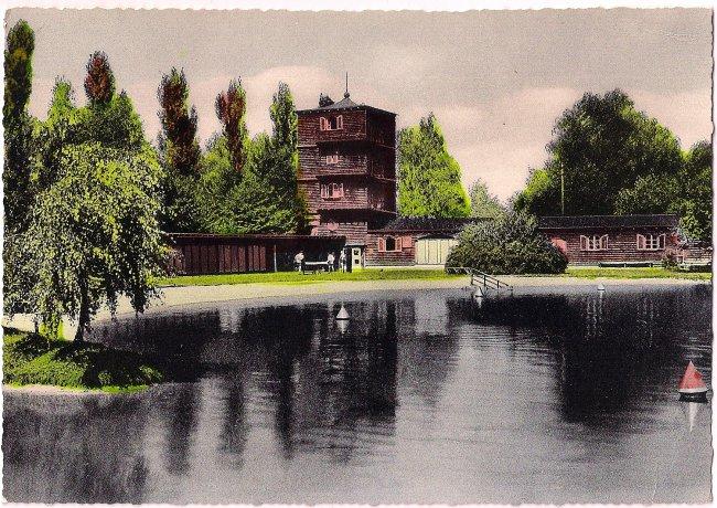 Laupheim Parkbad (Vorderseite der Ansichtskarte)