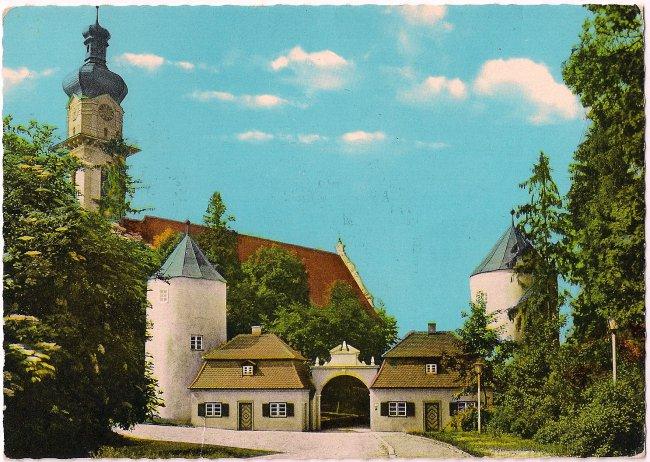 Laupheim Schloss Großlaupheim Peter und Paul-Kirche (Vorderseite der Ansichtskarte)