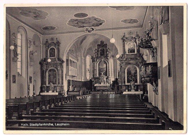 Kath. Stadtpfarrkirche, Laupheim (Vorderseite der Ansichtskarte)