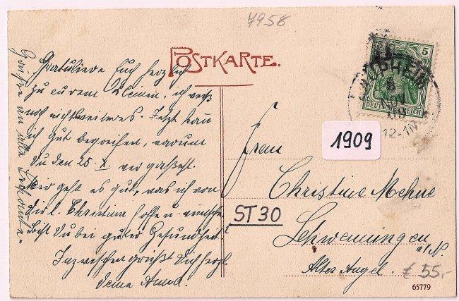 Laupheim Kapellenstrasse / Synagoge (Rückseite der Ansichtskarte)