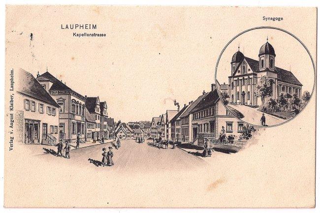 Laupheim Kapellenstrasse / Synagoge (Vorderseite der Ansichtskarte)