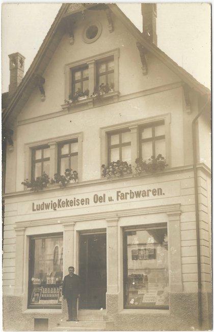 Ludwig Kekeisen Oel u. Farbwaren (Vorderseite der Ansichtskarte)